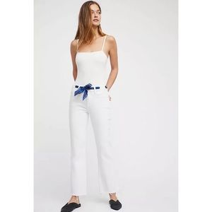 NWT Free People White Jeans Scarf Belt Cropped